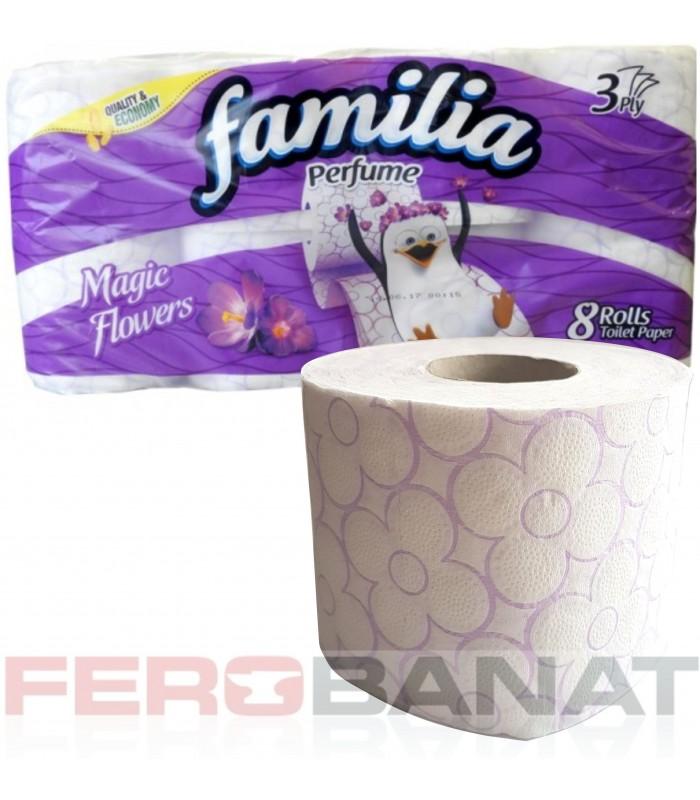 Hartie igienica parfumata Familia 8 role bax consumabile igiena toaleta