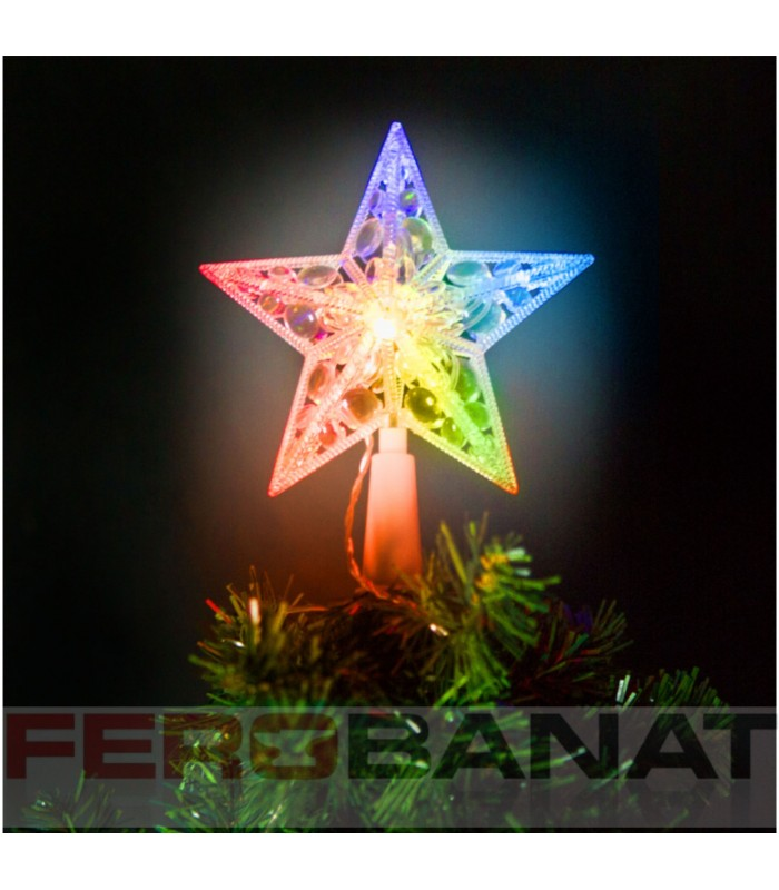 Stea varf brad LED multicolor Craciun ornamente decoratiuni sarbatori