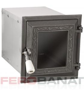 Cuptor cu usa si geam fonta negru tabla
